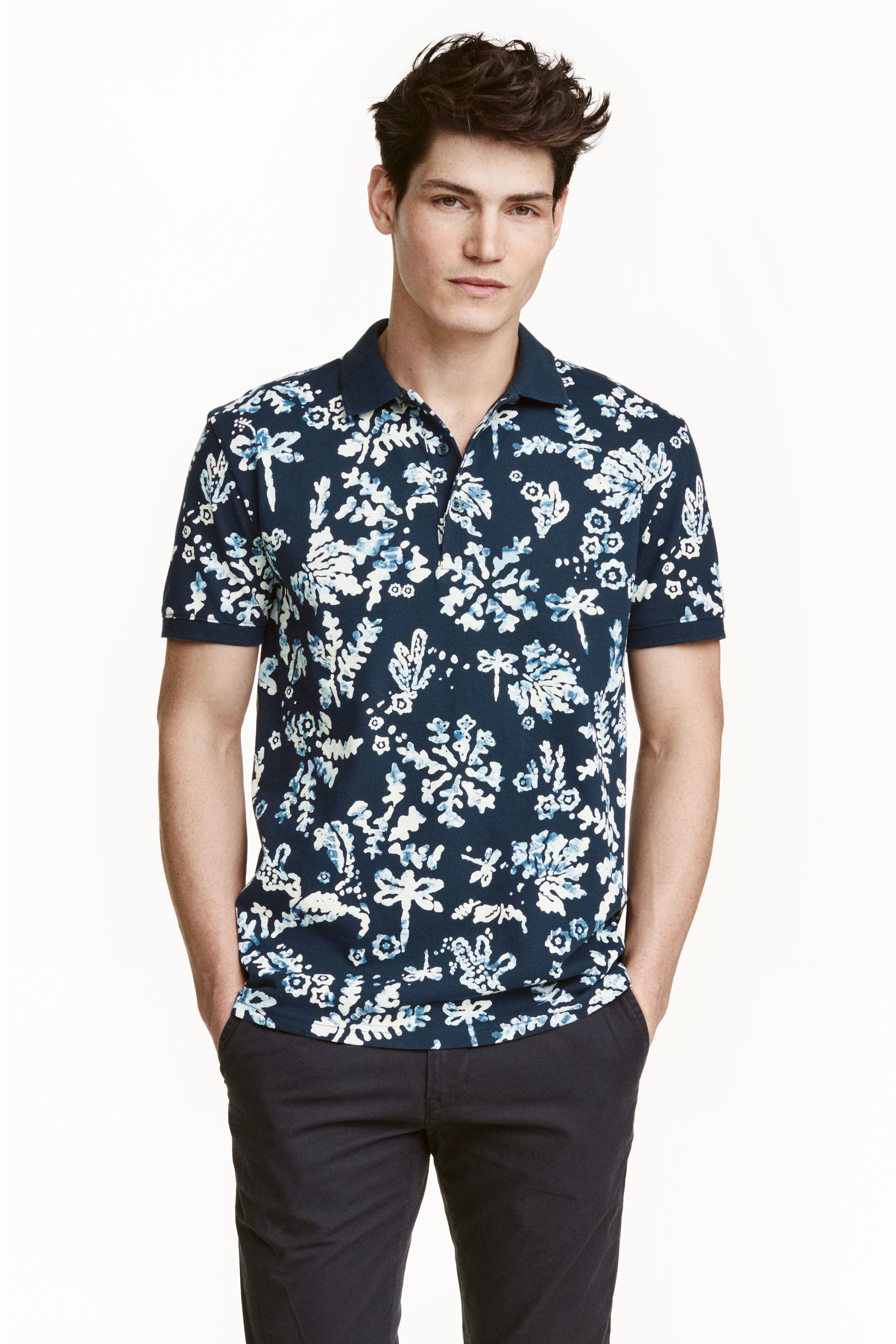 H m printed polo shirt in white for men lyst for H m polo shirt mens