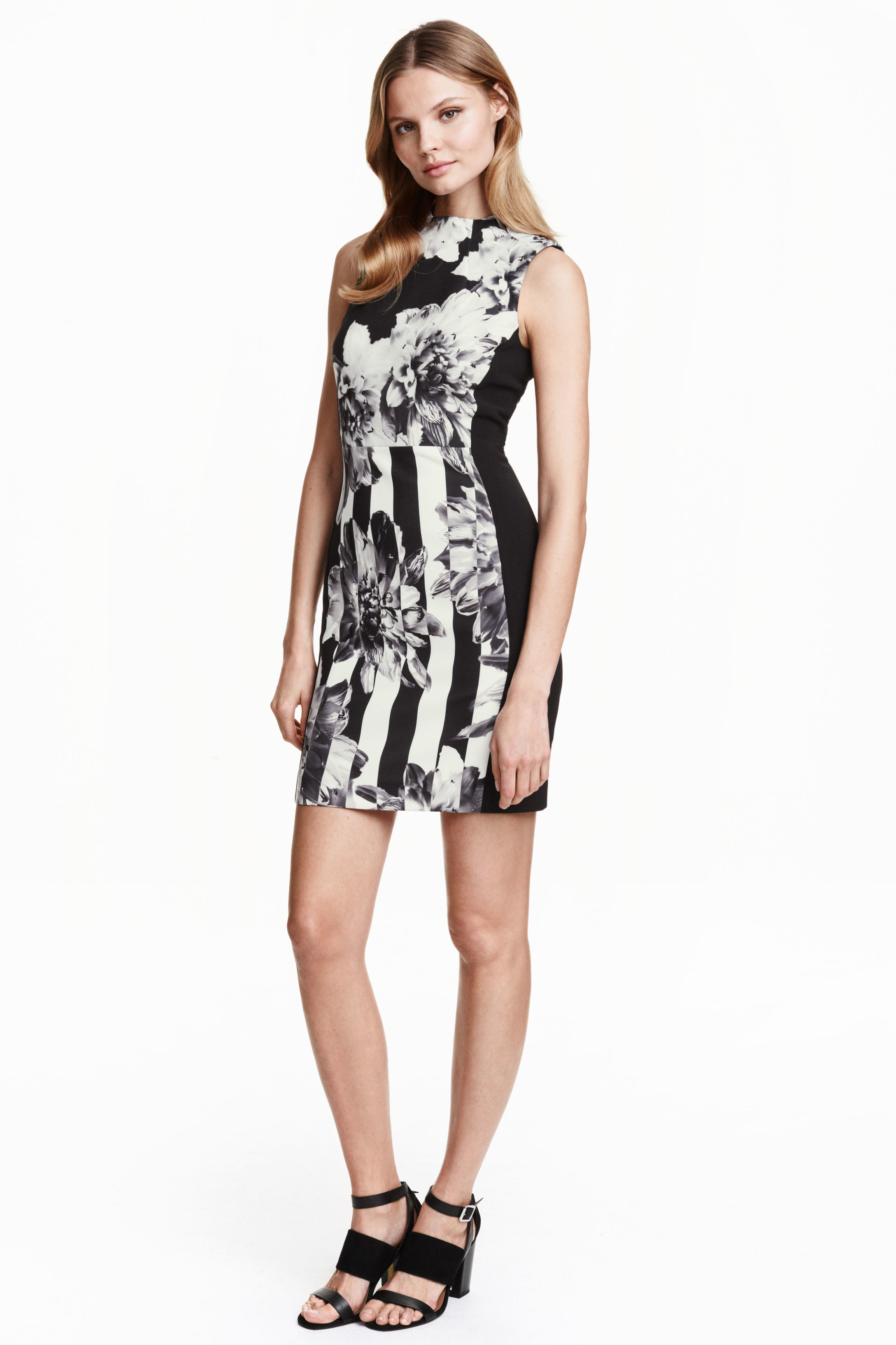 Lyst H M Patterned Dress In Black