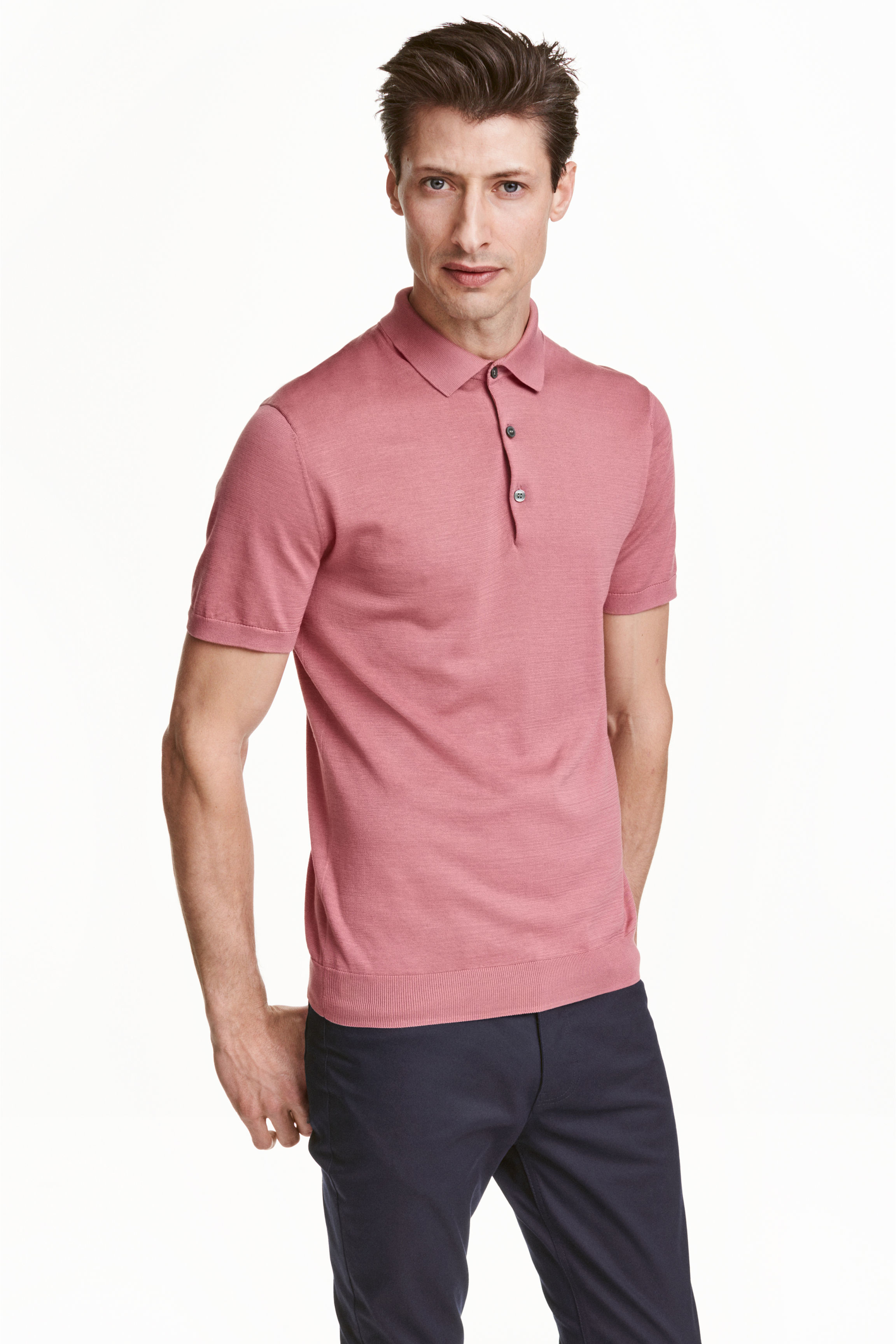 H m silk blend polo shirt in pink for men lyst for H m polo shirt mens
