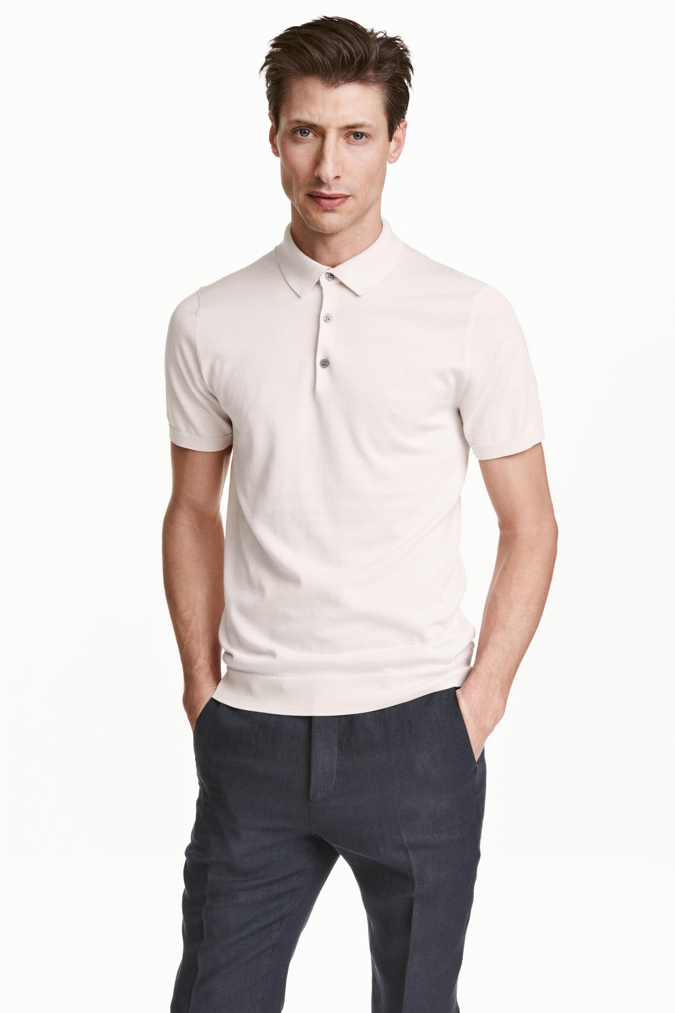 H m silk blend polo shirt in white for men lyst for H m polo shirt mens