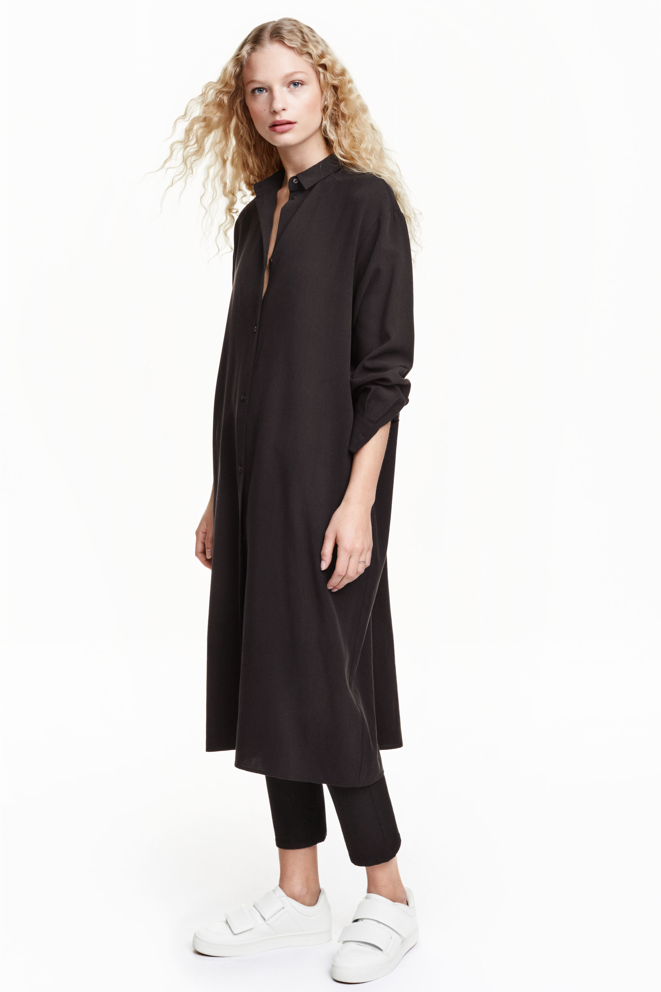 H&m Oversized Shirt in Black | Lyst