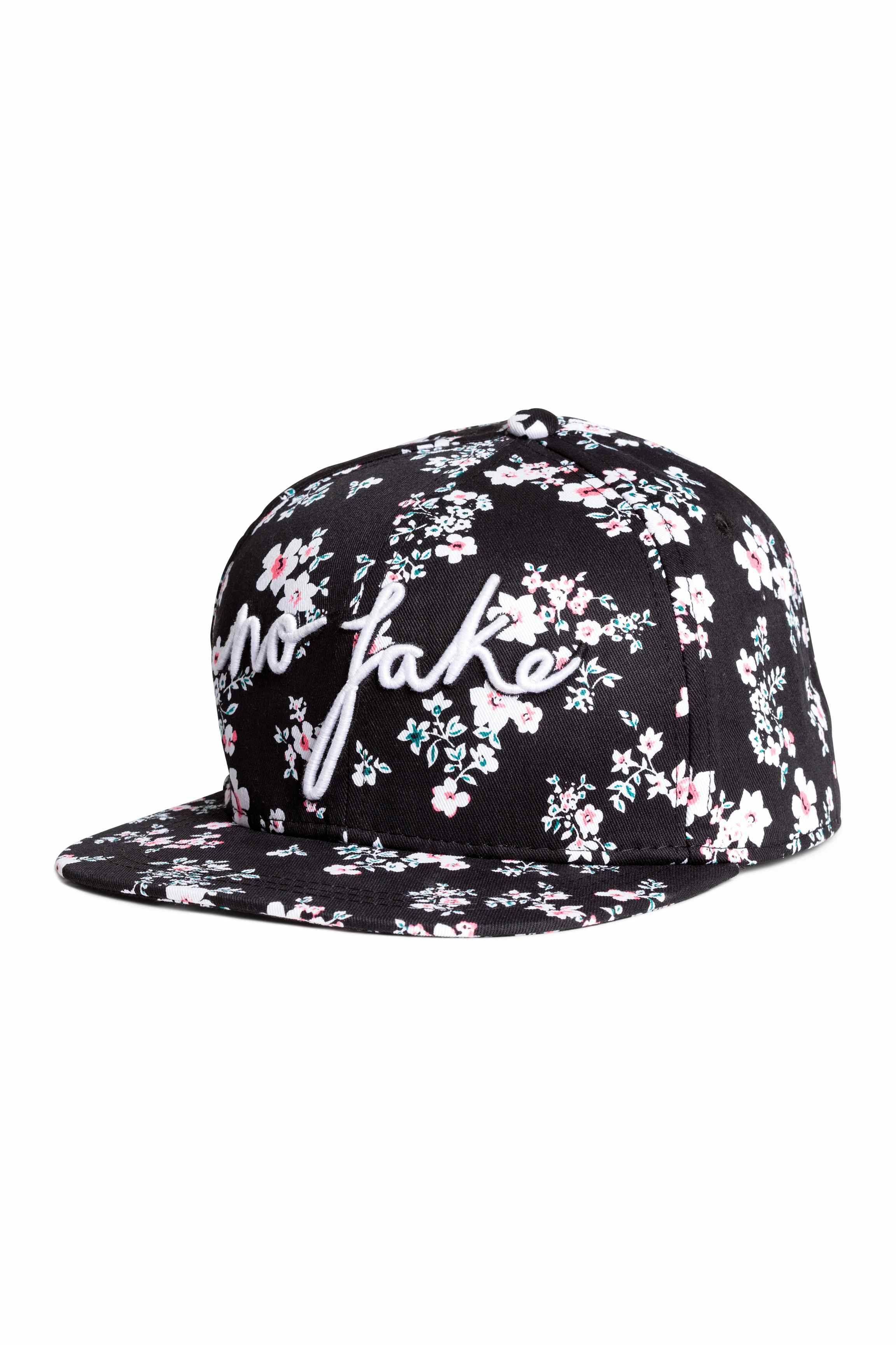 H&m Patterned Cotton Cap in Black