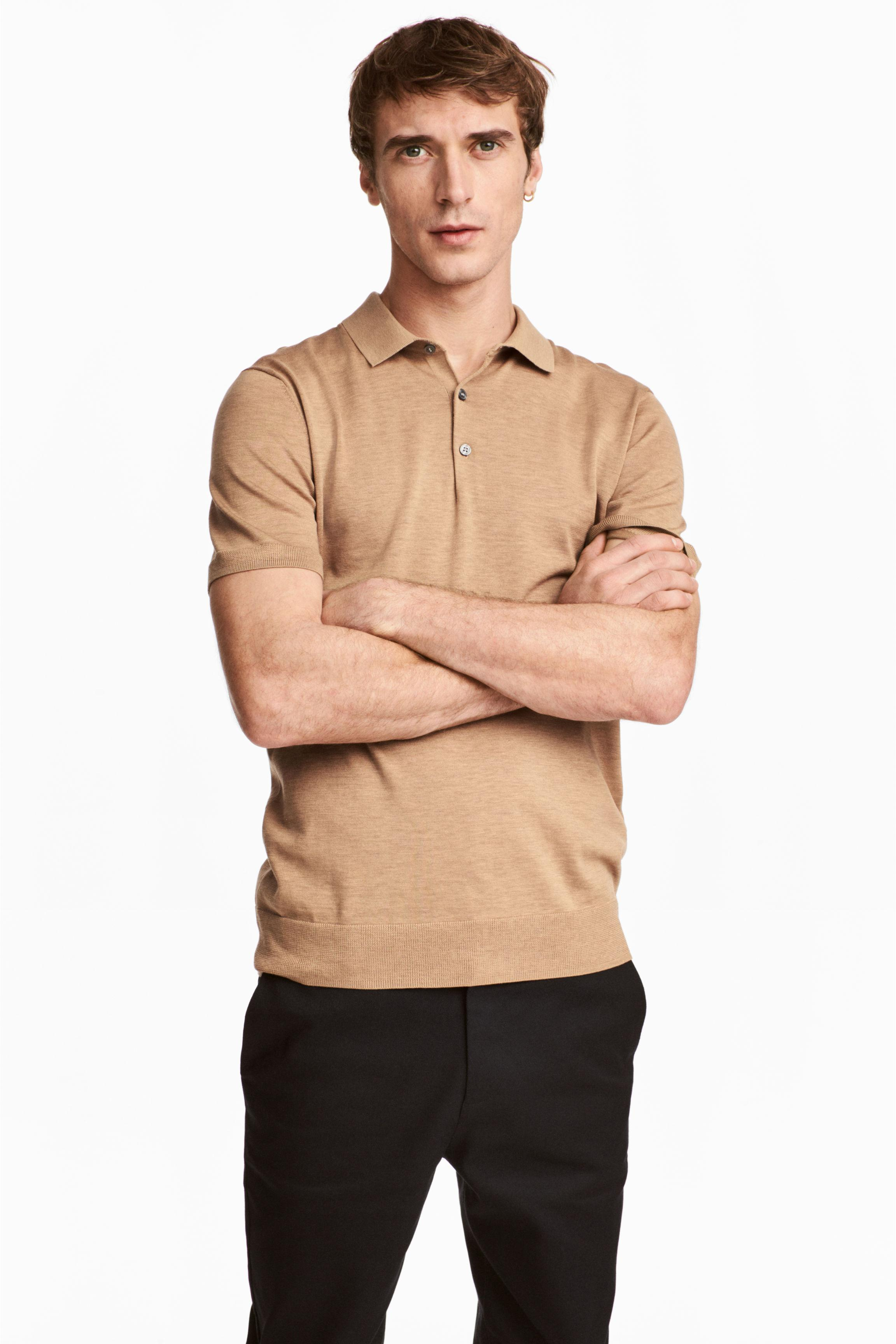 H m silk blend polo shirt in natural for men lyst for H m polo shirt mens