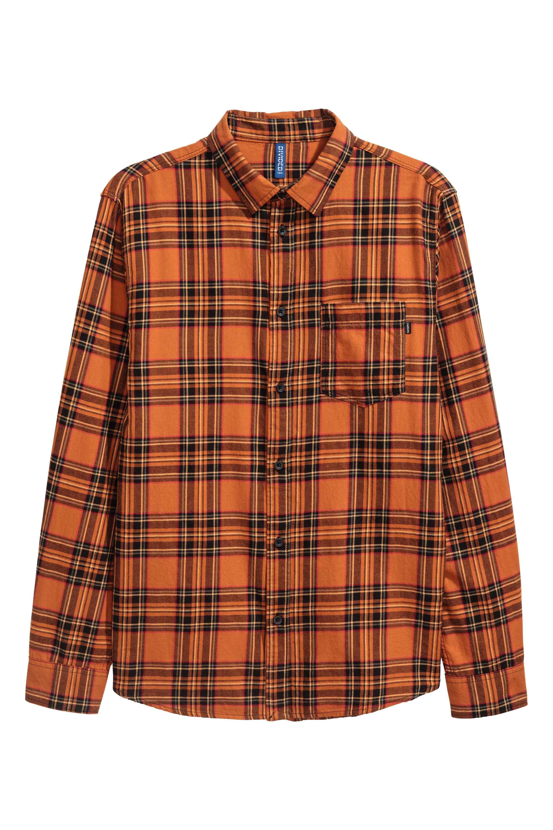 H&m Checked Flannel Shirt in Orange for Men | Lyst