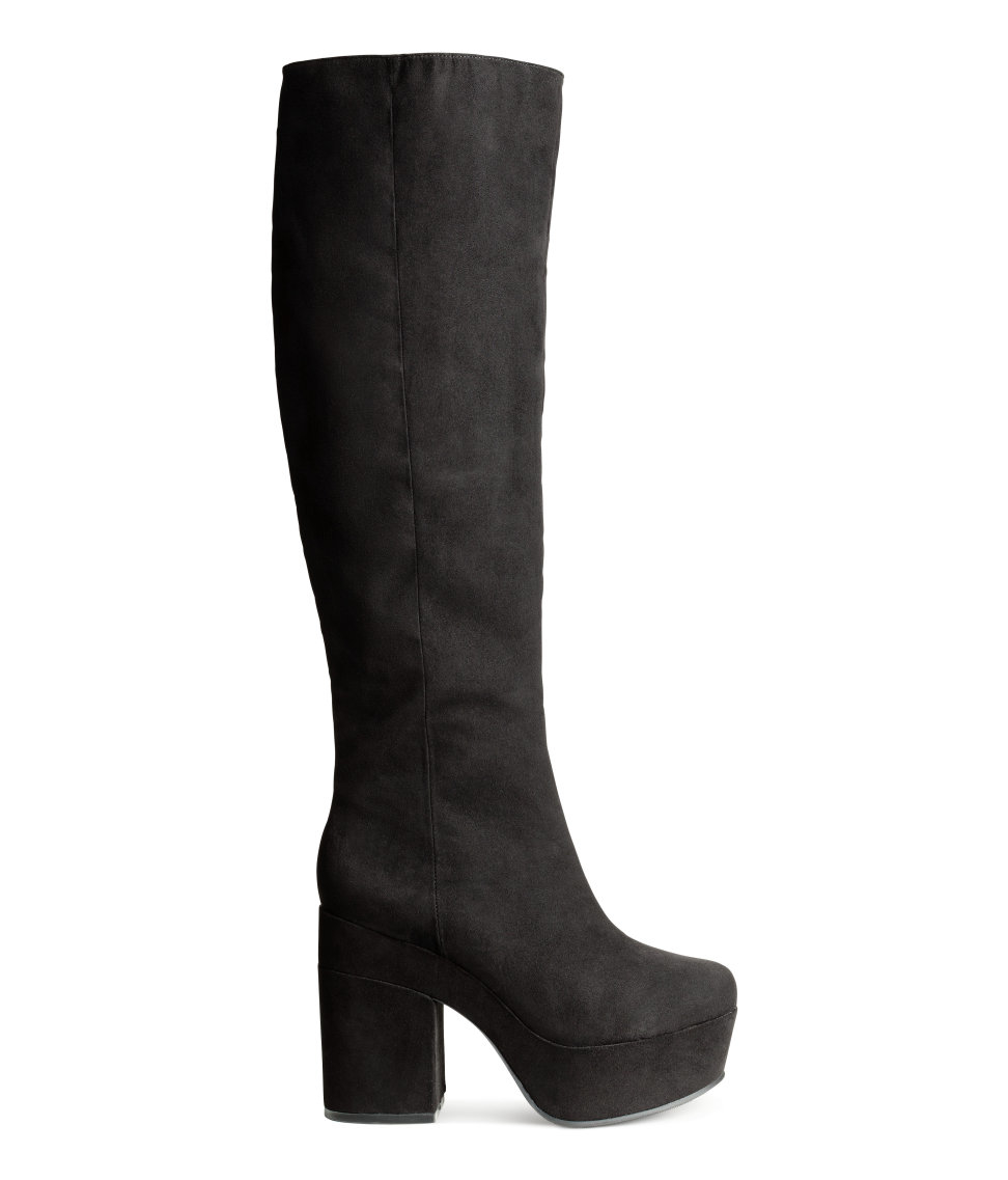 h m knee high boots in black lyst
