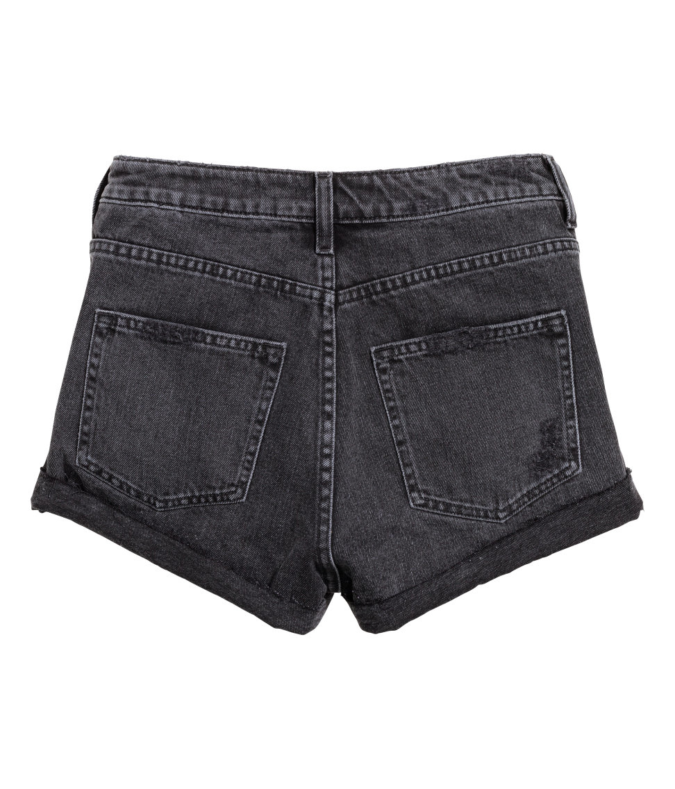 Hu0026m Denim Shorts Trashed in Black | Lyst