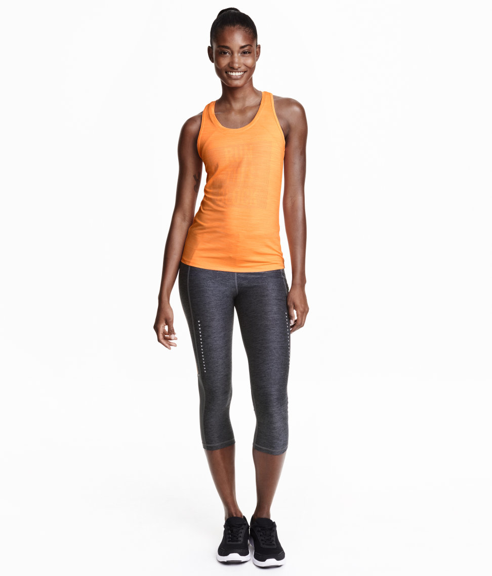 1684600cd3ea3 H&M 3/4-length Running Tights in Black - Lyst