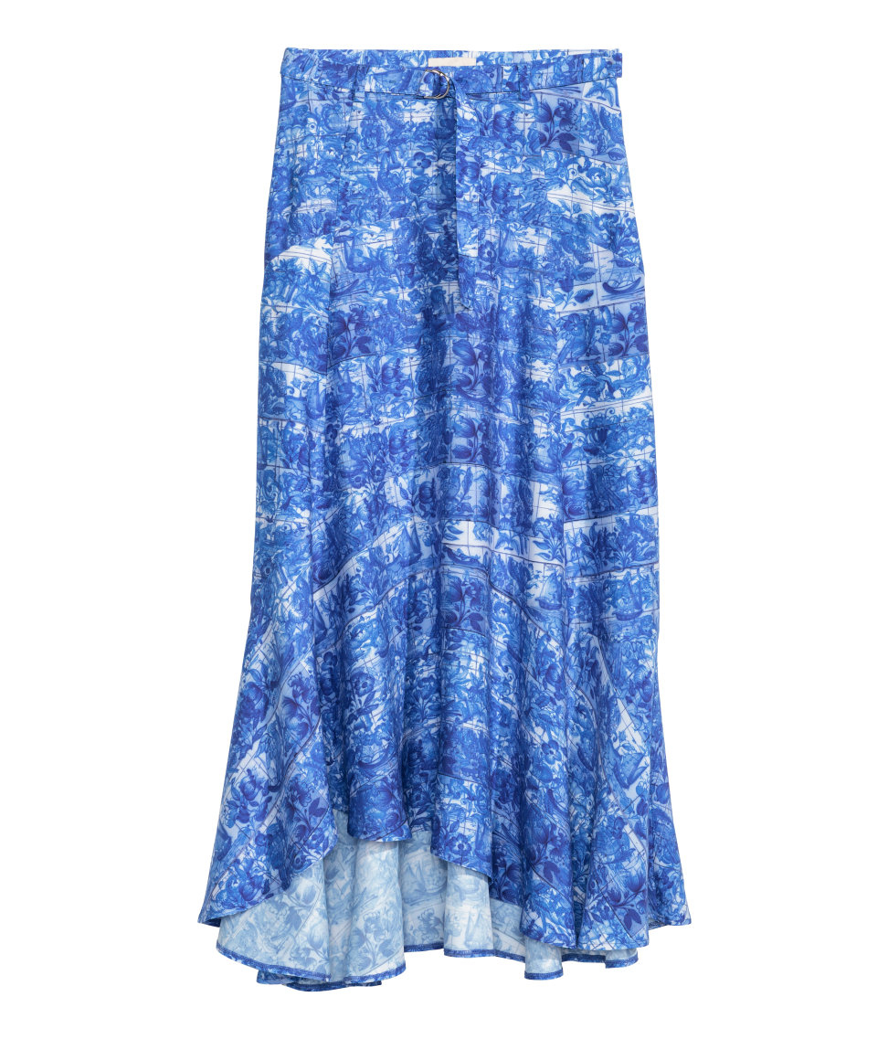 h m skirt in a lyocell blend in blue lyst
