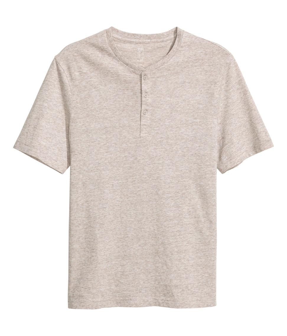 Lyst h m short sleeved henley shirt in gray for men for H m mens henley t shirt long sleeve