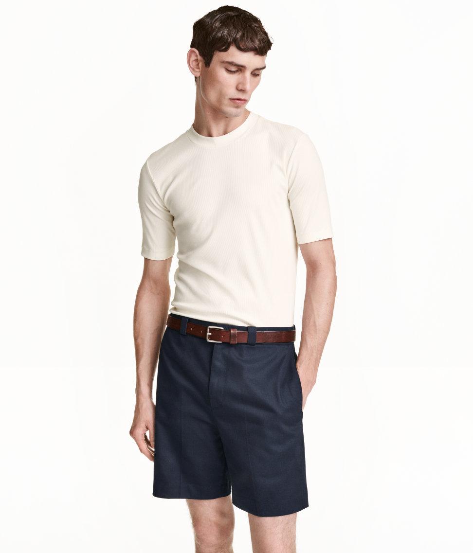 h m ribbed t shirt in white for men lyst. Black Bedroom Furniture Sets. Home Design Ideas