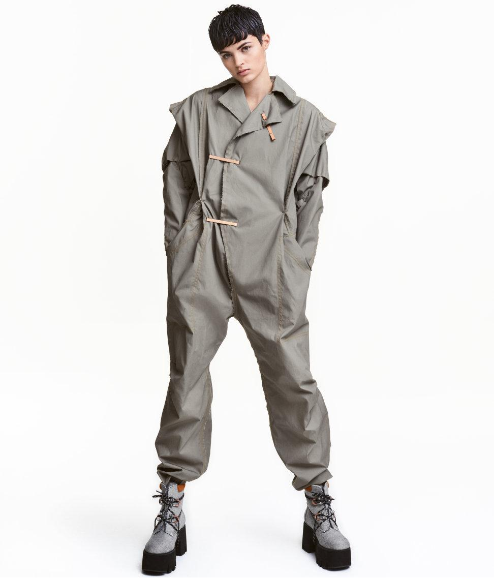 h m waxed cotton jumpsuit in gray lyst. Black Bedroom Furniture Sets. Home Design Ideas