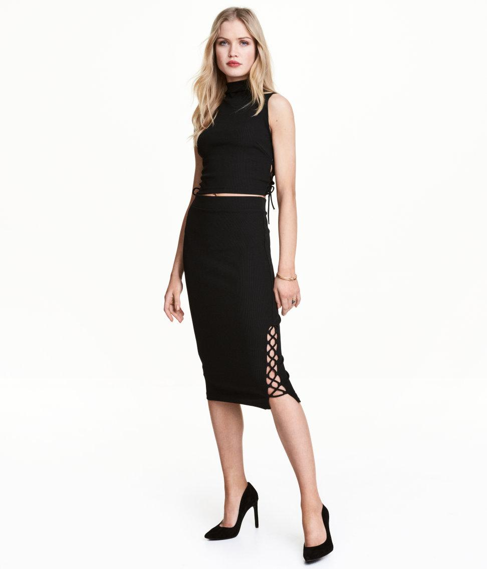 h m pencil skirt with lacing in black lyst