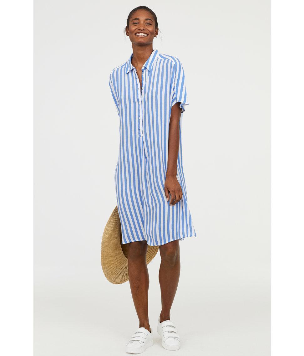 75c8ac715 H&M Crêpe Shirt Dress in Blue - Lyst