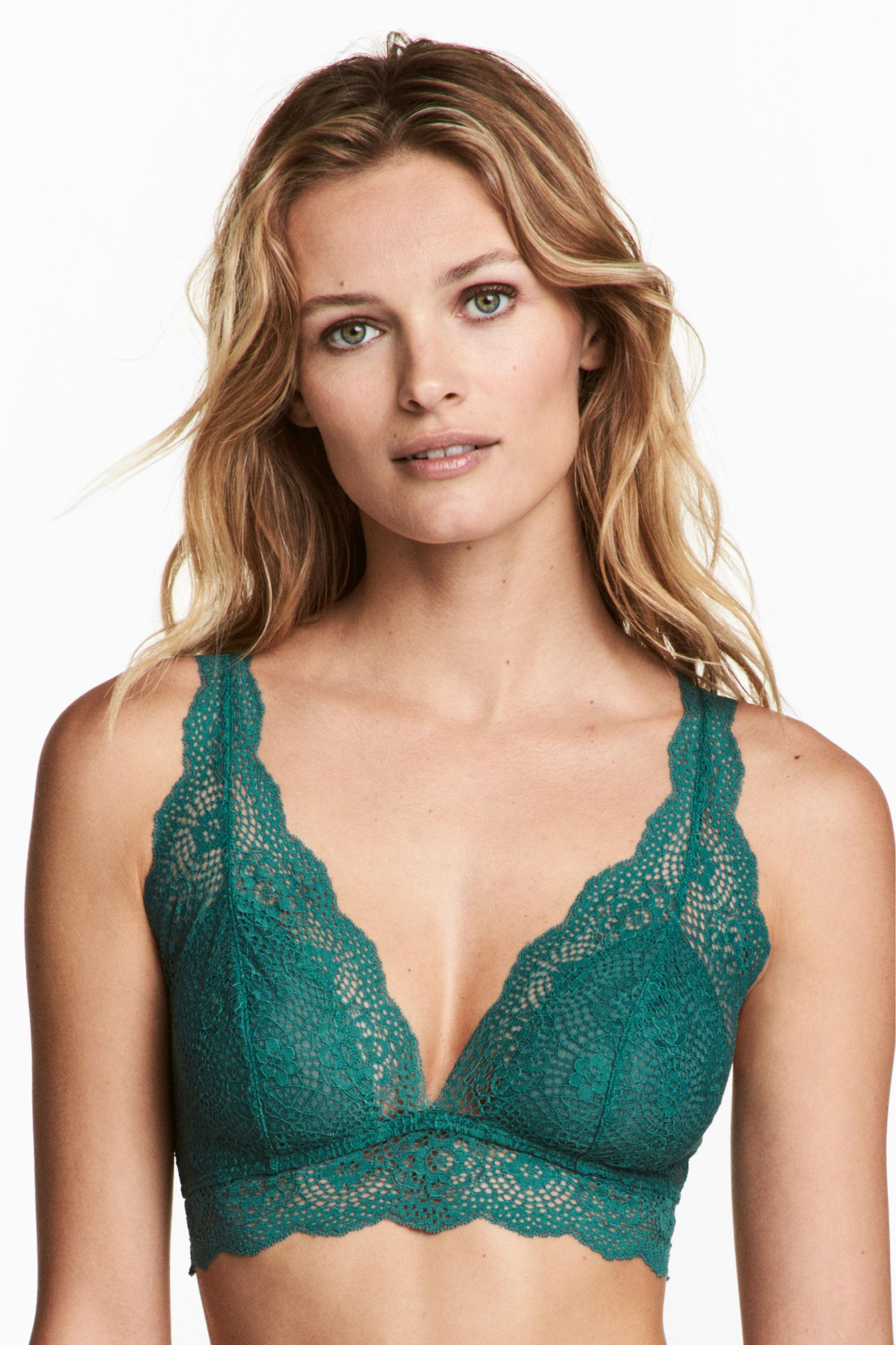 f43f32af64 H M Non-wired Lace Bralette in Green - Lyst