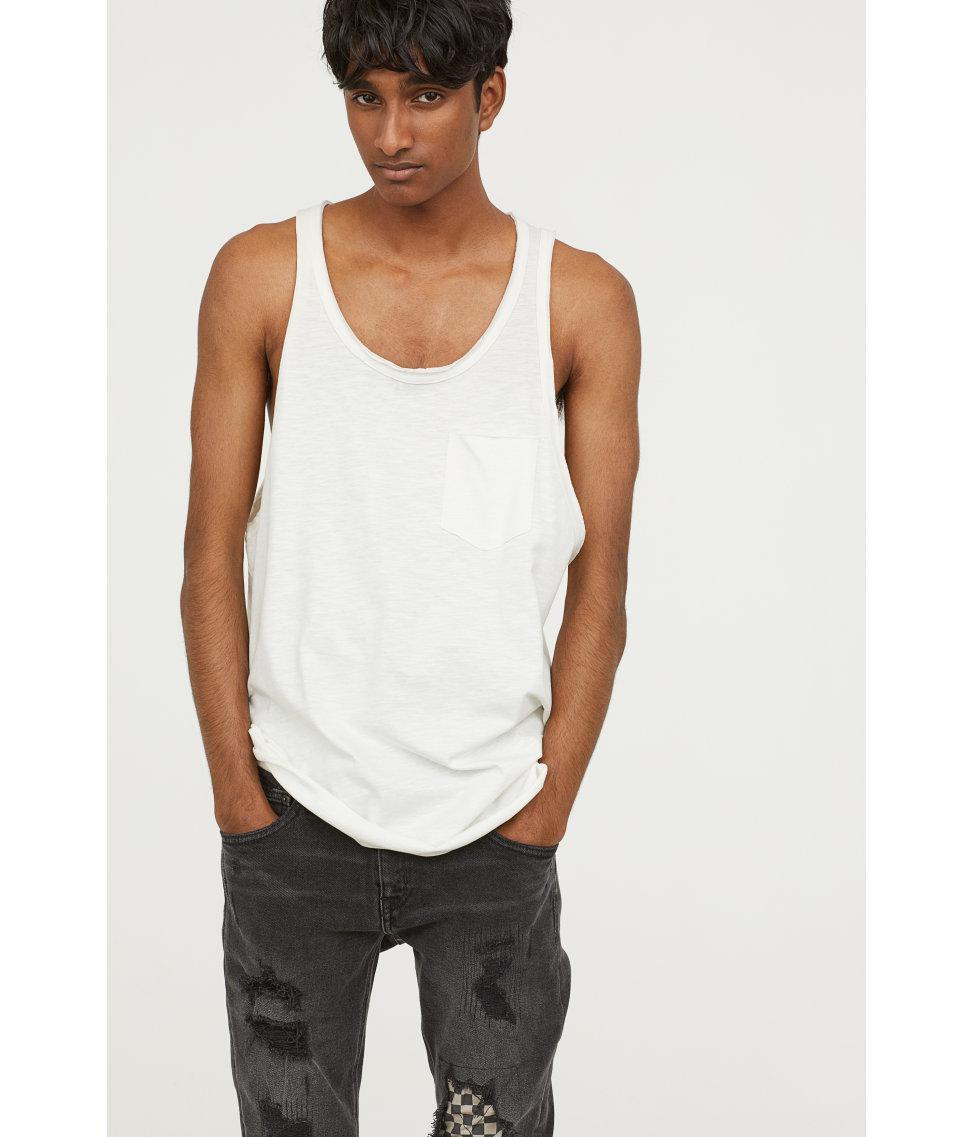 d54ce04cfabc55 Lyst - H M Slub Jersey Vest Top in White for Men