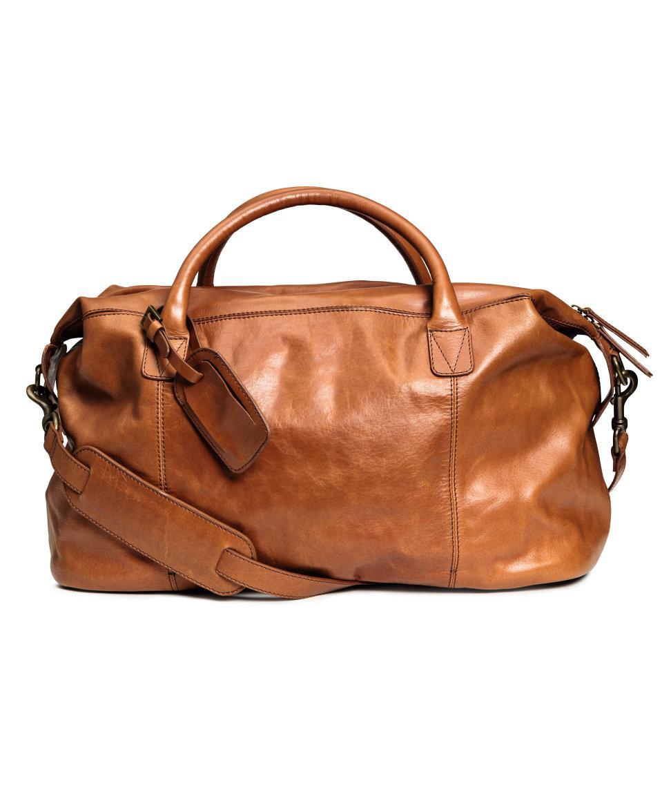 de5763eea8 Lyst - H M Leather Weekend Bag in Brown for Men