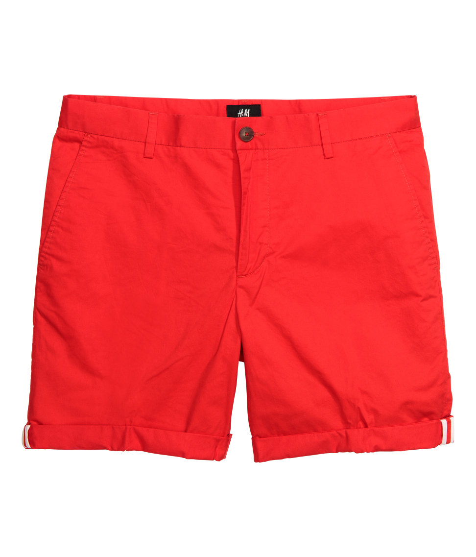 H&m Cotton Shorts Slim Fit in Red for Men | Lyst