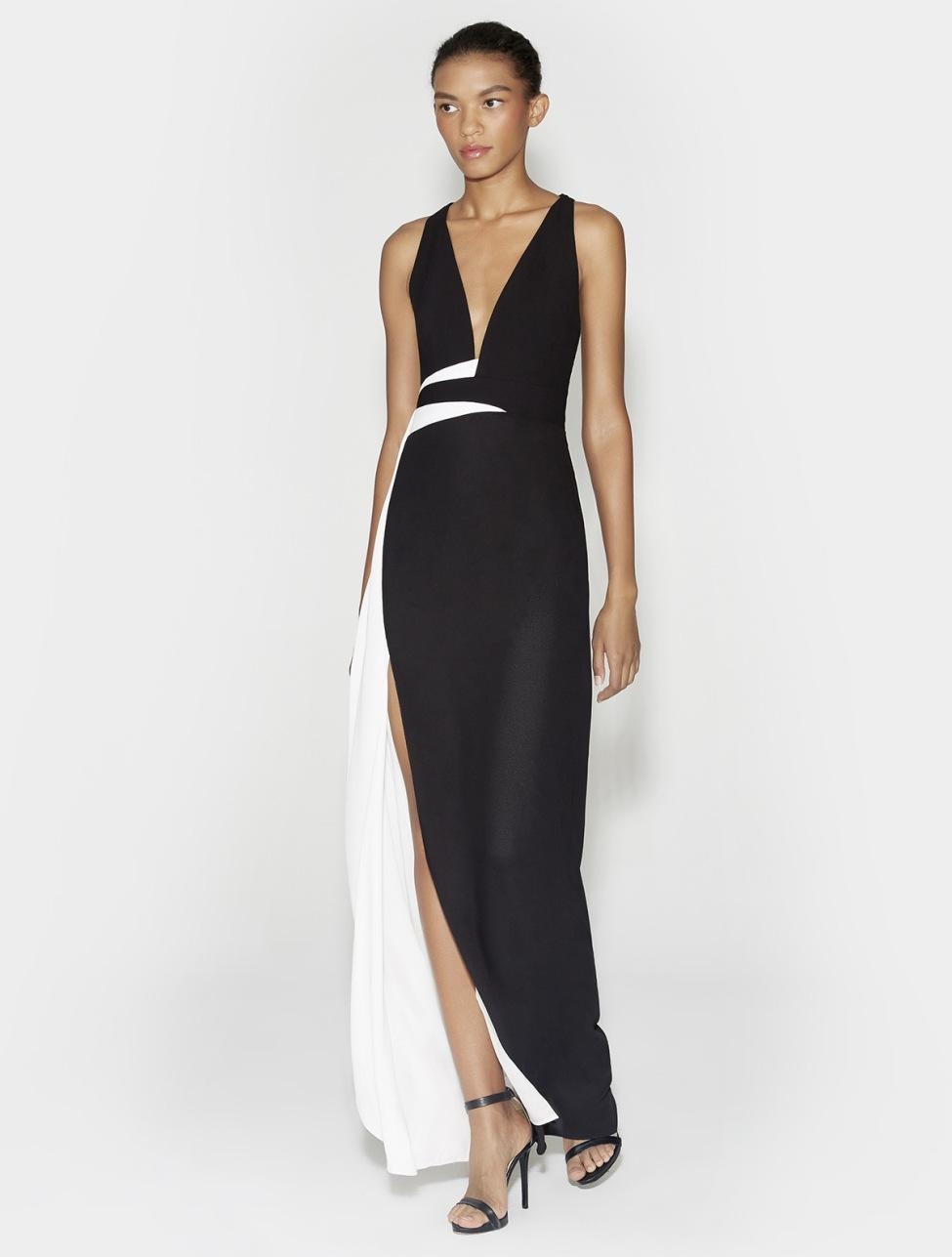 Lyst - Halston Heritage Gown With Contrast Sash in Black