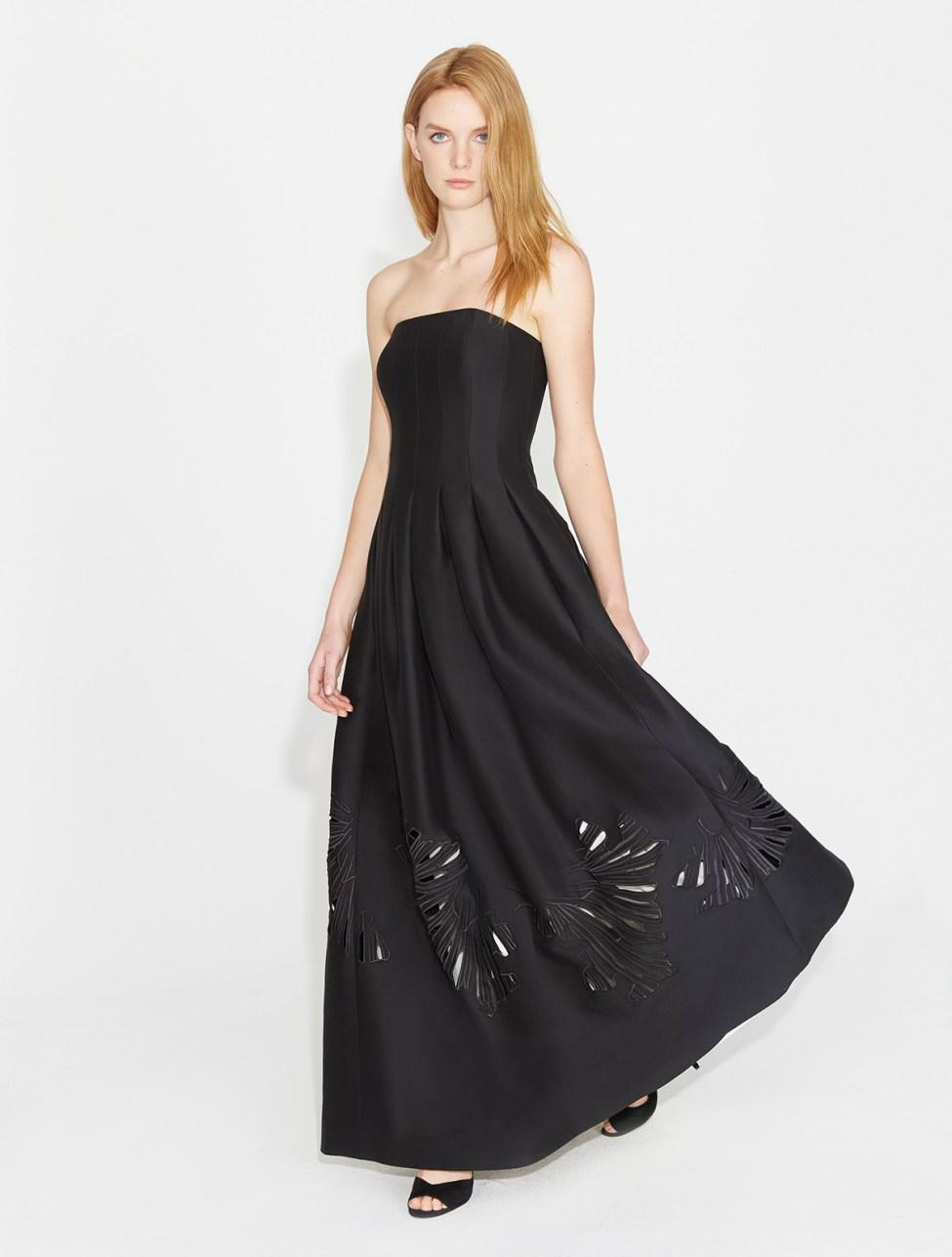 a612aeae0a00 Lyst - Halston Strapless Silk Faille Gown With Embroidery in Black