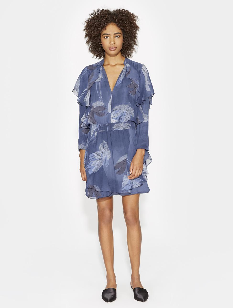5cc60e07ca0a Halston Flutter Detail Printed Silk Dress in Blue - Lyst