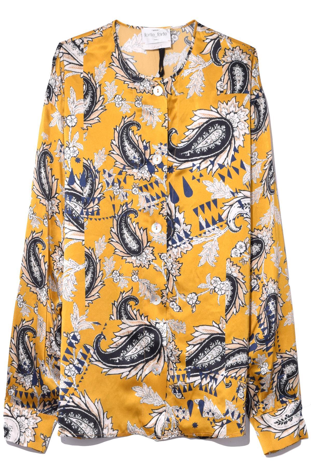 7f00c41d Forte Forte Afrika Print Satinsilk Shirt In Oro - Lyst