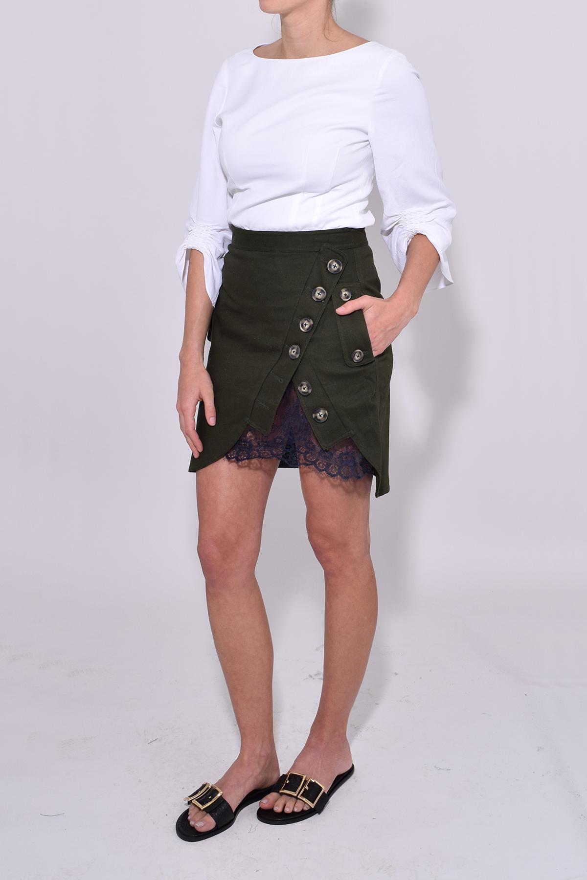 c28bf677bf93b0 Self-Portrait Utility Mini Skirt In Khaki in Black - Lyst