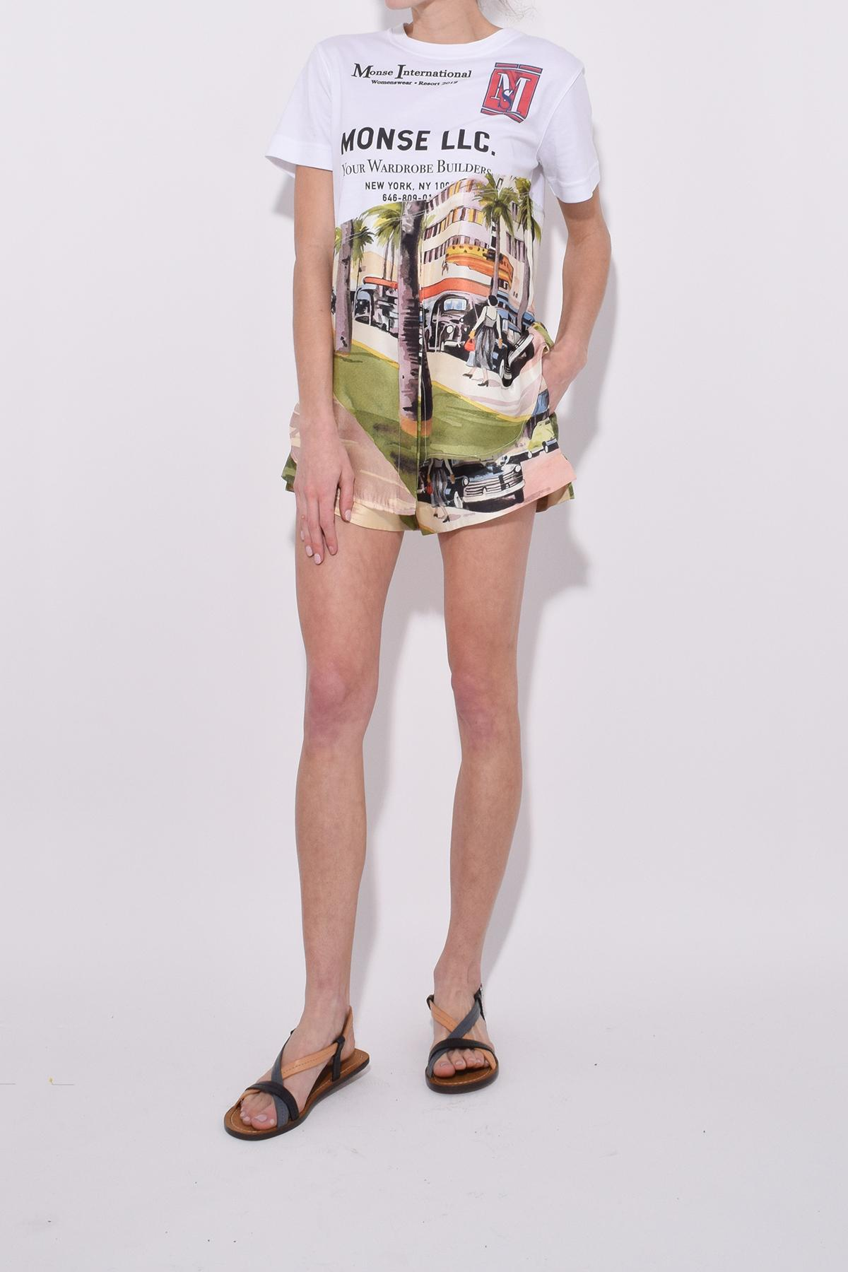 Lyst Monse Printed Silk And Cotton Blend T Shirt