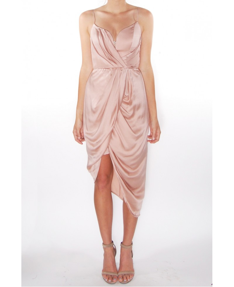 70ee38da74 Lyst - Zimmermann Sueded Silk Plunge Short Dress in Pink