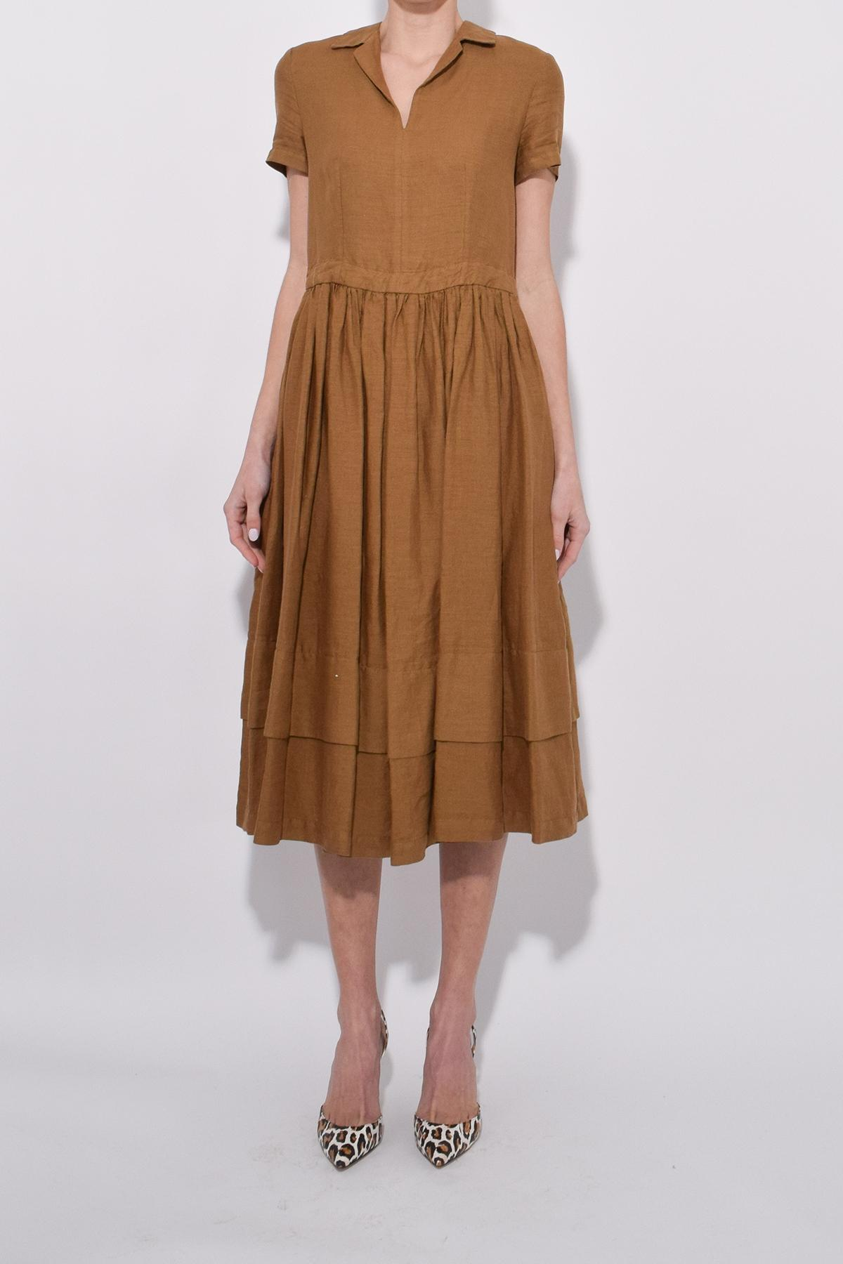 ad23537c518 Aspesi - Brown Short Sleeve Linen Dress In Tobacco - Lyst. View fullscreen