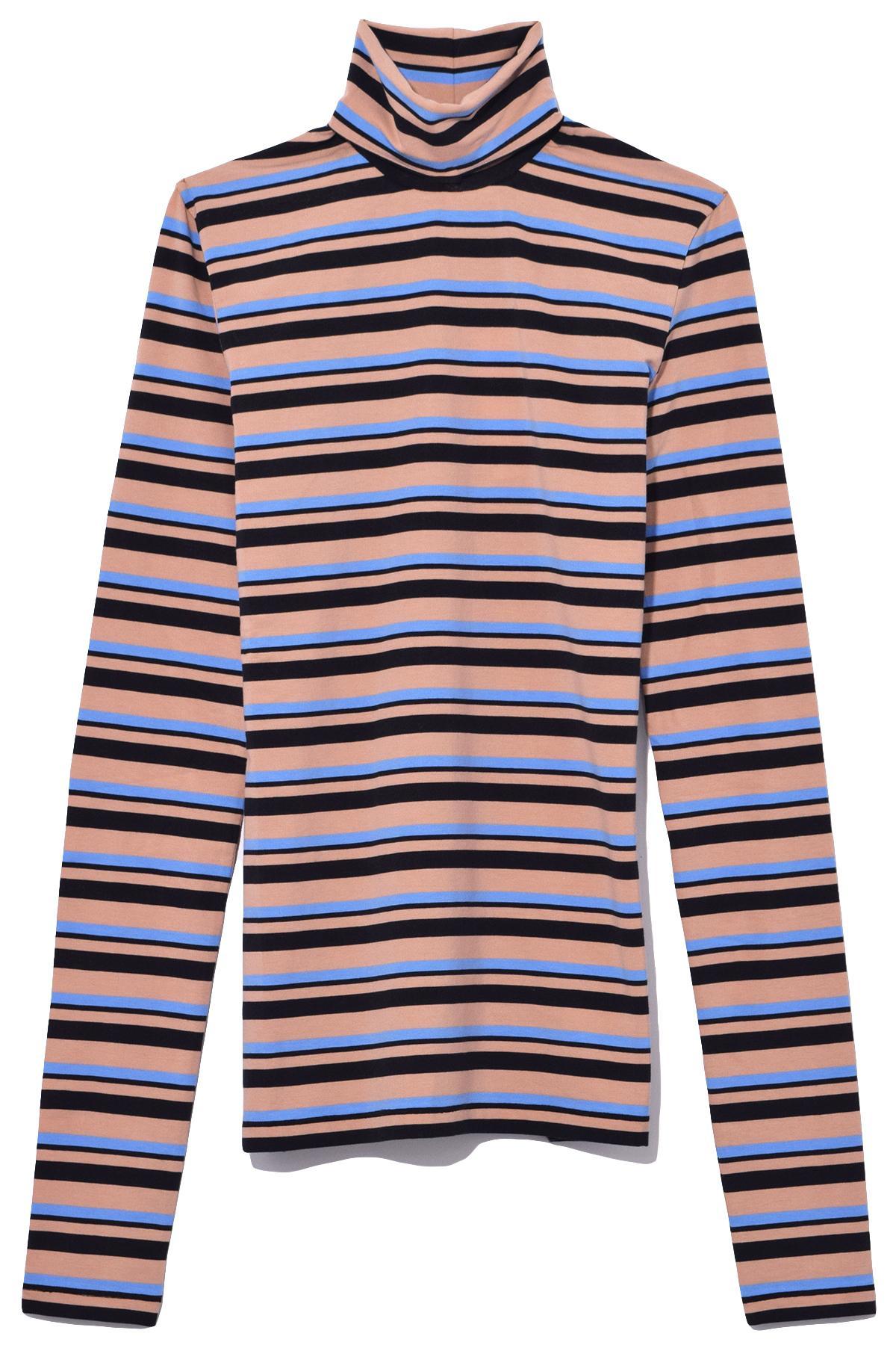 Schouler Blue Sheer Turtleneck Stripe Proenza Jersey In Women's 8wEddqxB