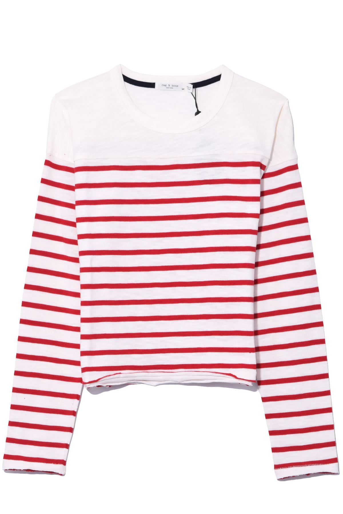 9e76567a16 Rag & Bone Halsey Striped Long Sleeve Tee In White/red in White - Lyst