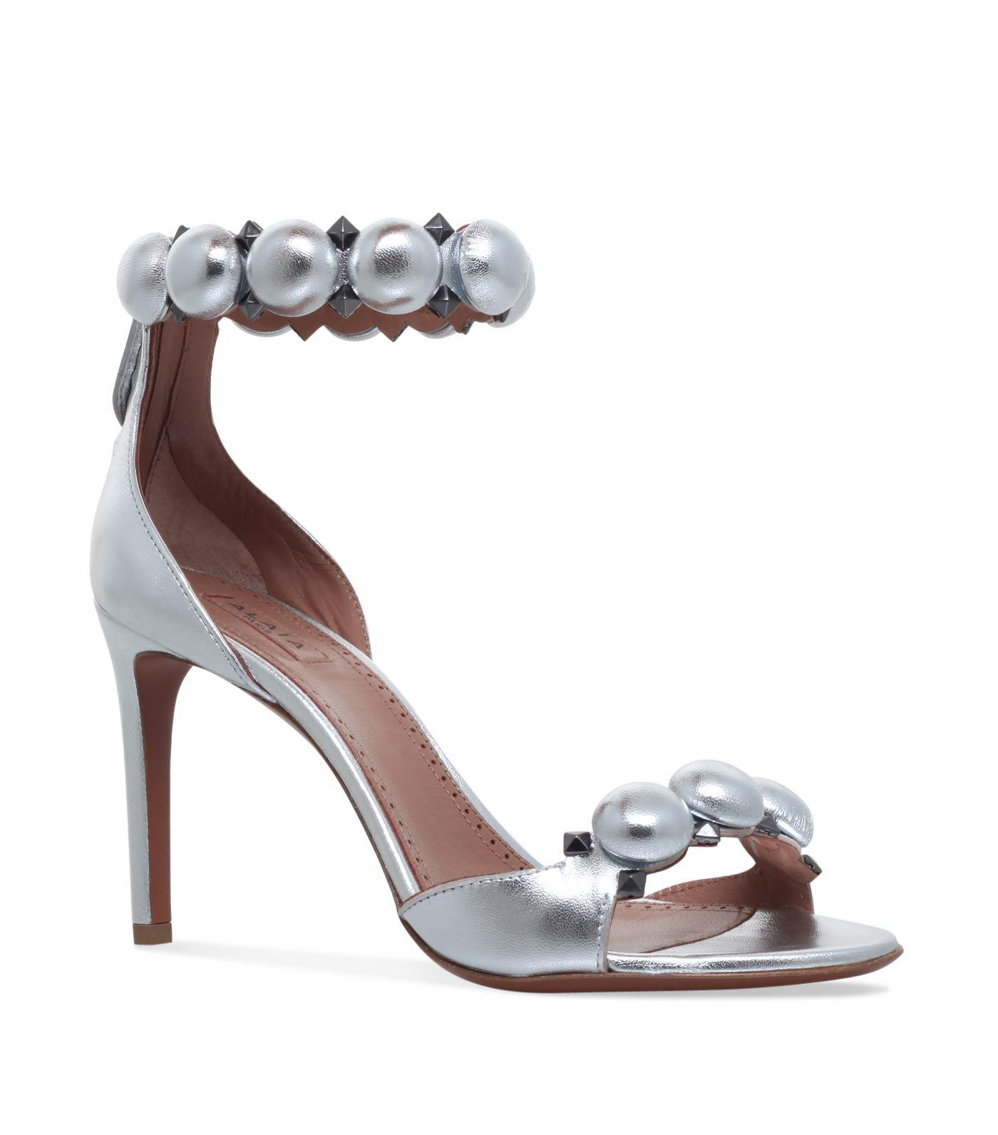 fde4394c48fe Lyst - Alaïa Leather Bombe Sandals 90 in Metallic