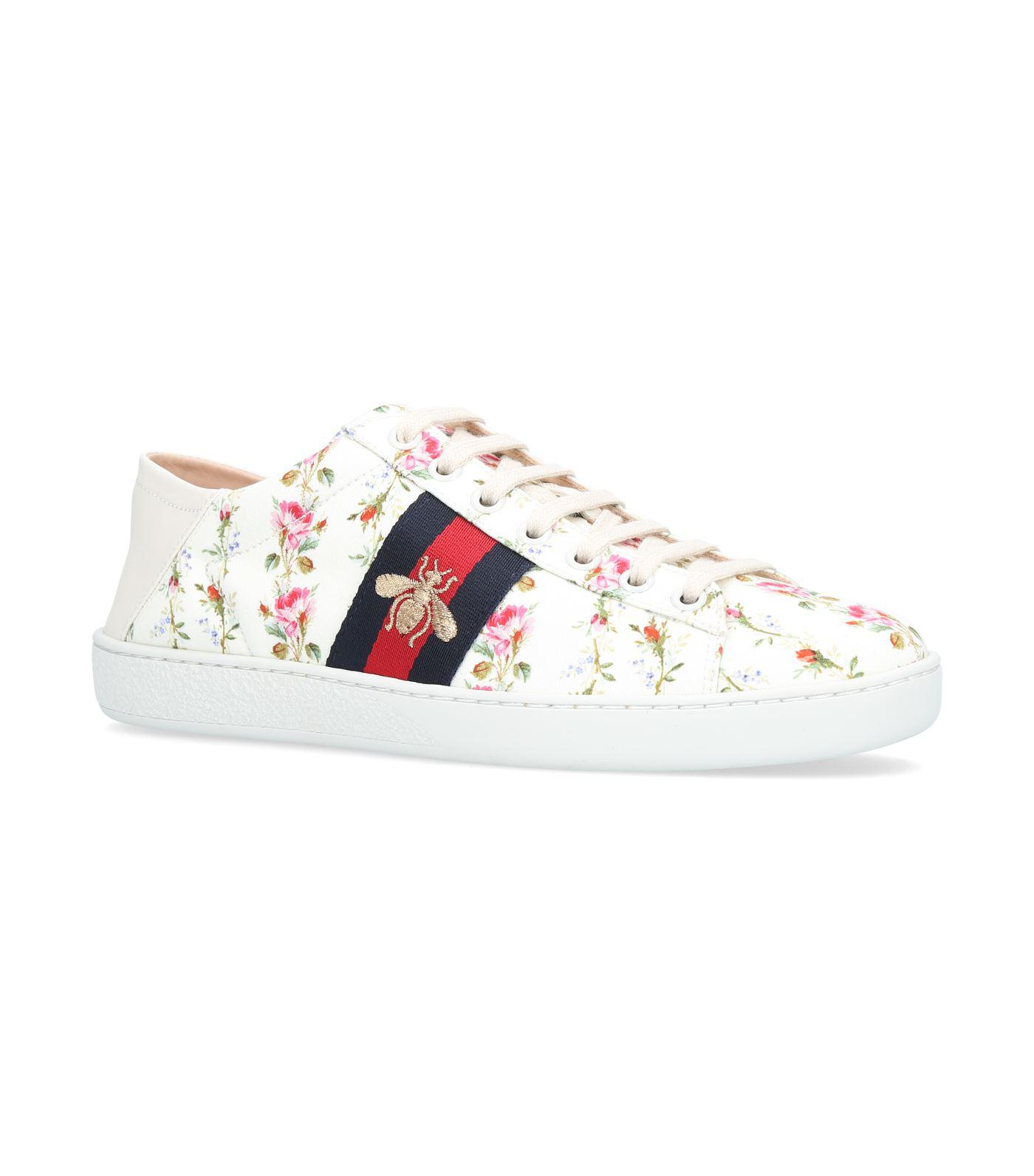 f27cb4d2d43 Lyst - Gucci Ace Rose Print Low-top Sneakers in White