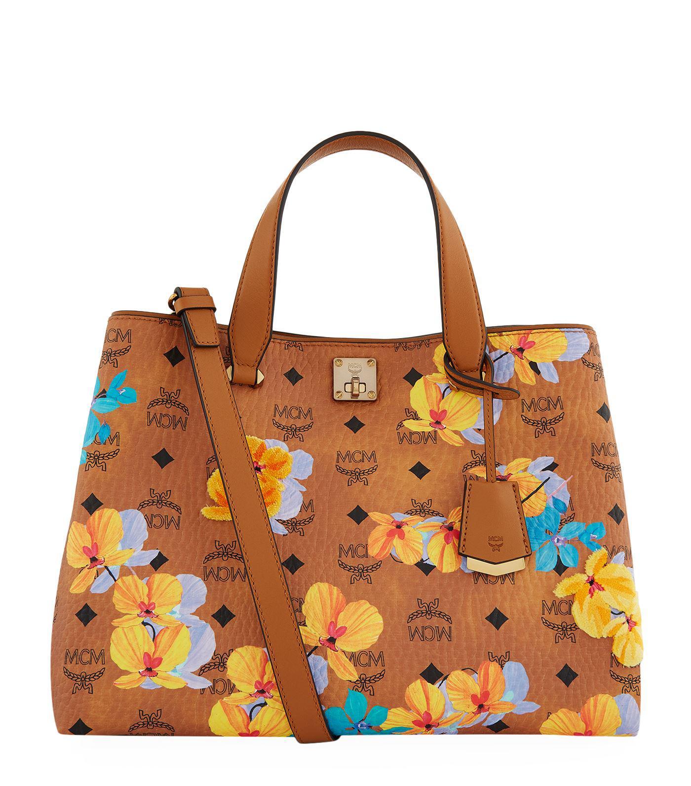 Toile Sac Shopper - Mcm Jaune Et Orange BL15G
