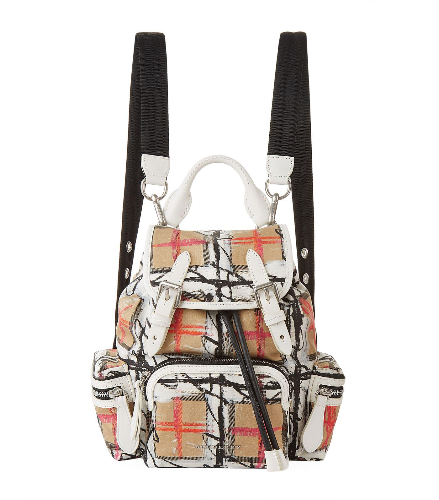 Lyst - Burberry Small Scribble Vintage Check Backpack in White ba1f0d0a78c26
