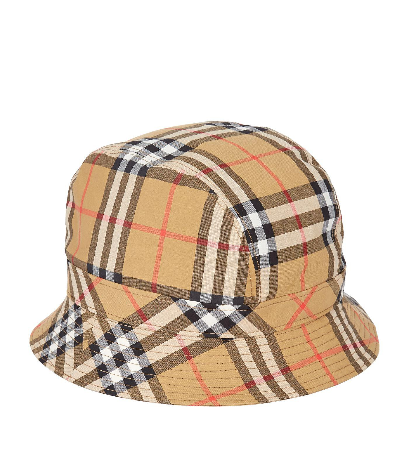 71dfaa7d731 Burberry Vintage Check Bucket Hat in Yellow - Lyst
