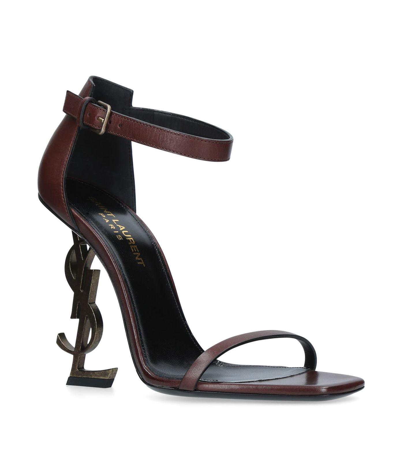 8c66923b5667 Saint Laurent Leather Opyum Sandals 110 in Brown - Lyst