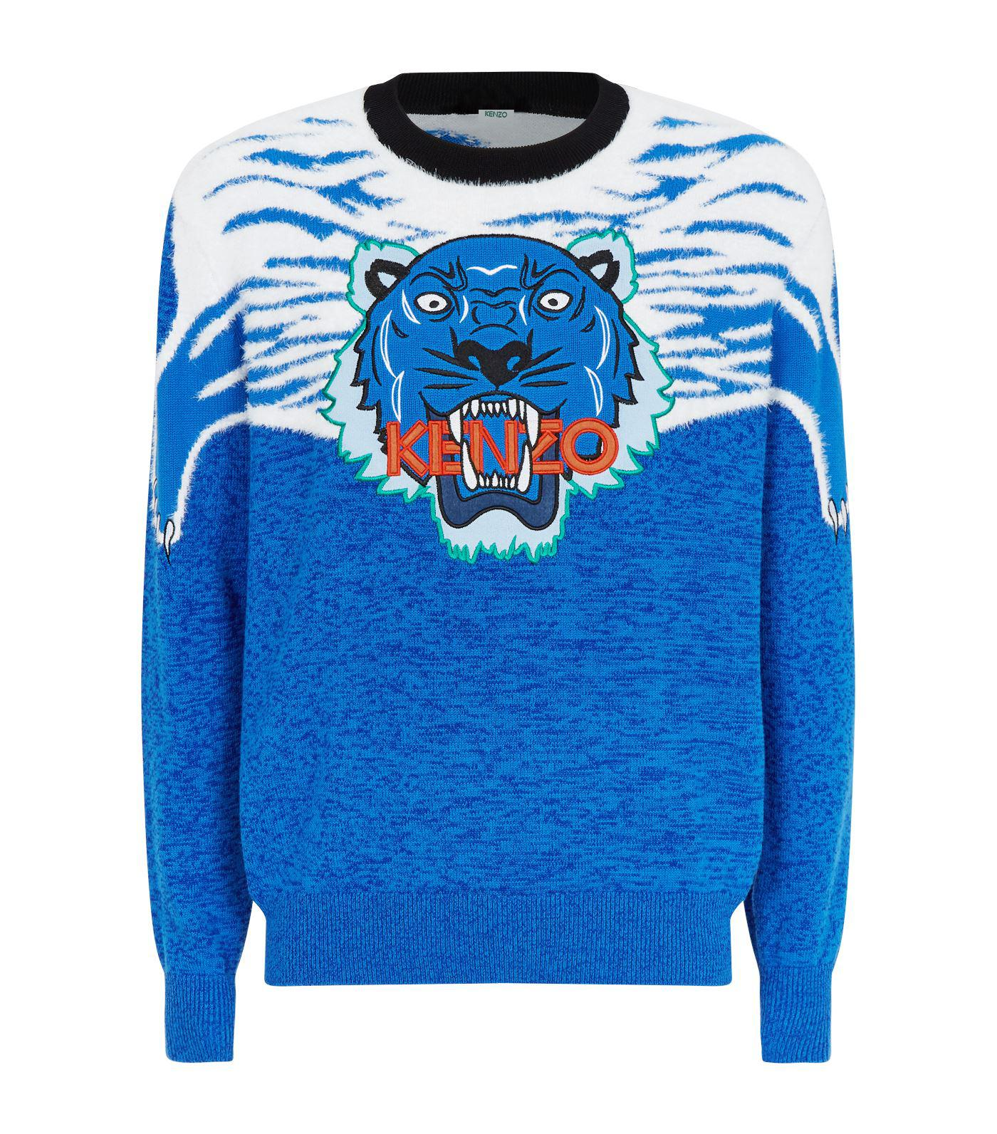 1396b29cf5 Lyst - Kenzo Tiger Applique Sweater in Blue for Men - Save ...
