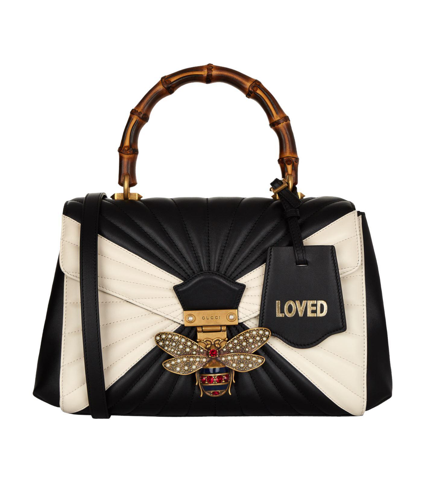 d9bdefba7719 Gucci Queen Margaret Bamboo Top Handle Bag in Black - Lyst