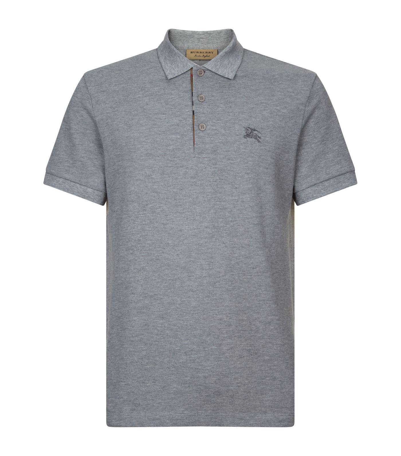3d19378a Lyst - Burberry Check Placket Polo Shirt in Gray for Men