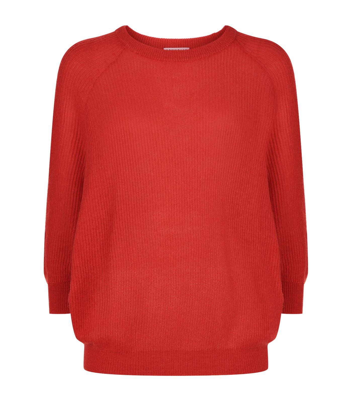Brunello cucinelli Ribbed Knit V-neck Batwing Sweater in Red | Lyst