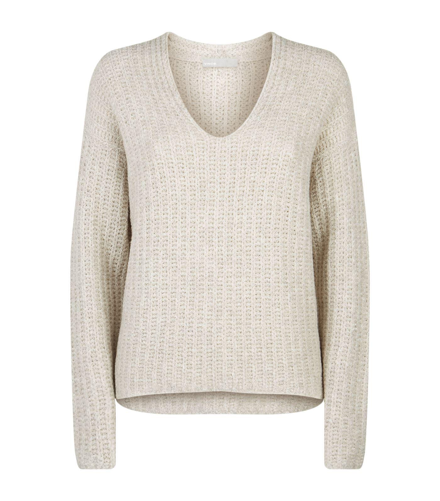 Lyst - Vince Chunky Knit V-neck Sweater in Brown 7ff9f334d