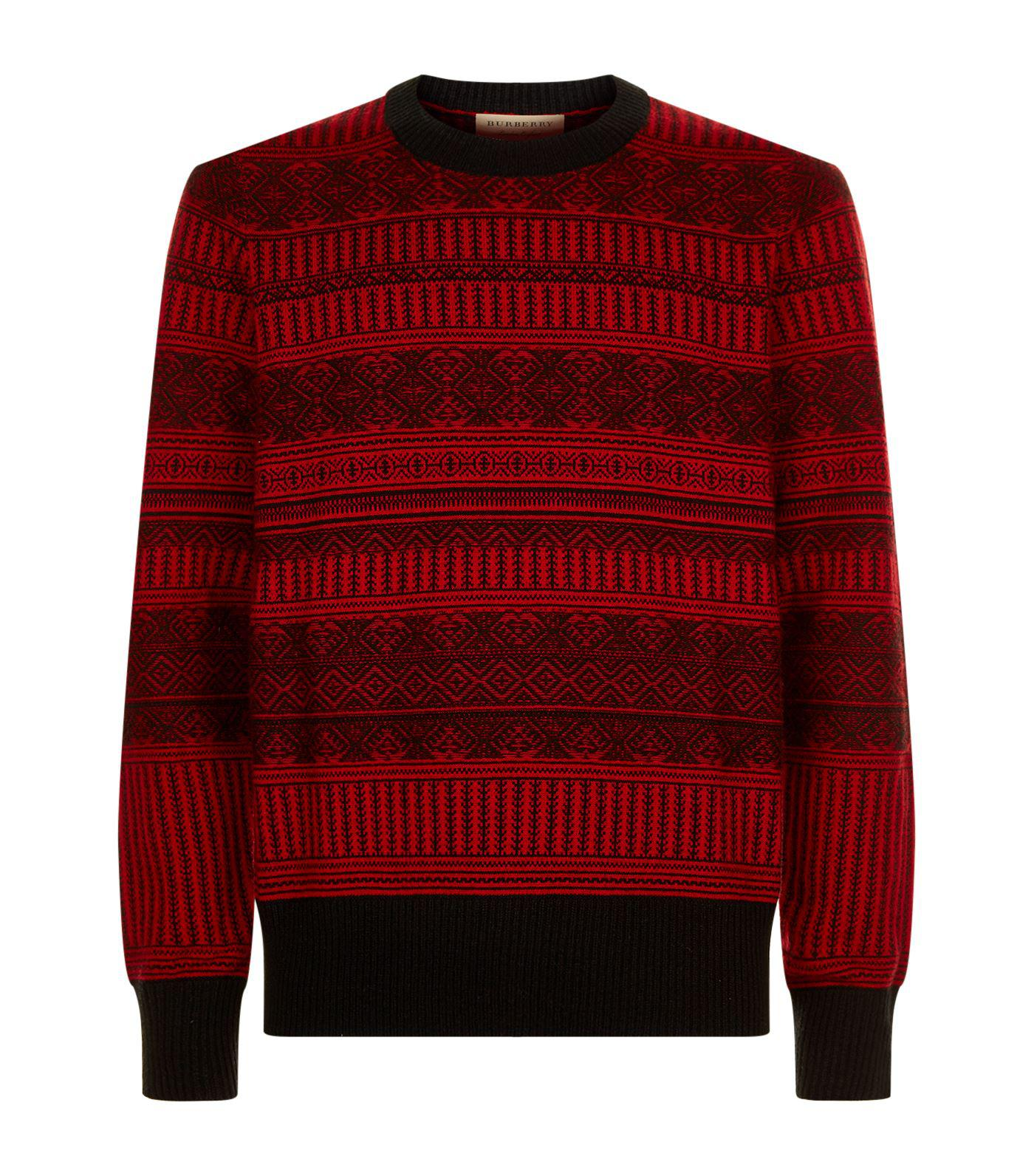 Burberry Fair Isle Sweater in Red for Men | Lyst