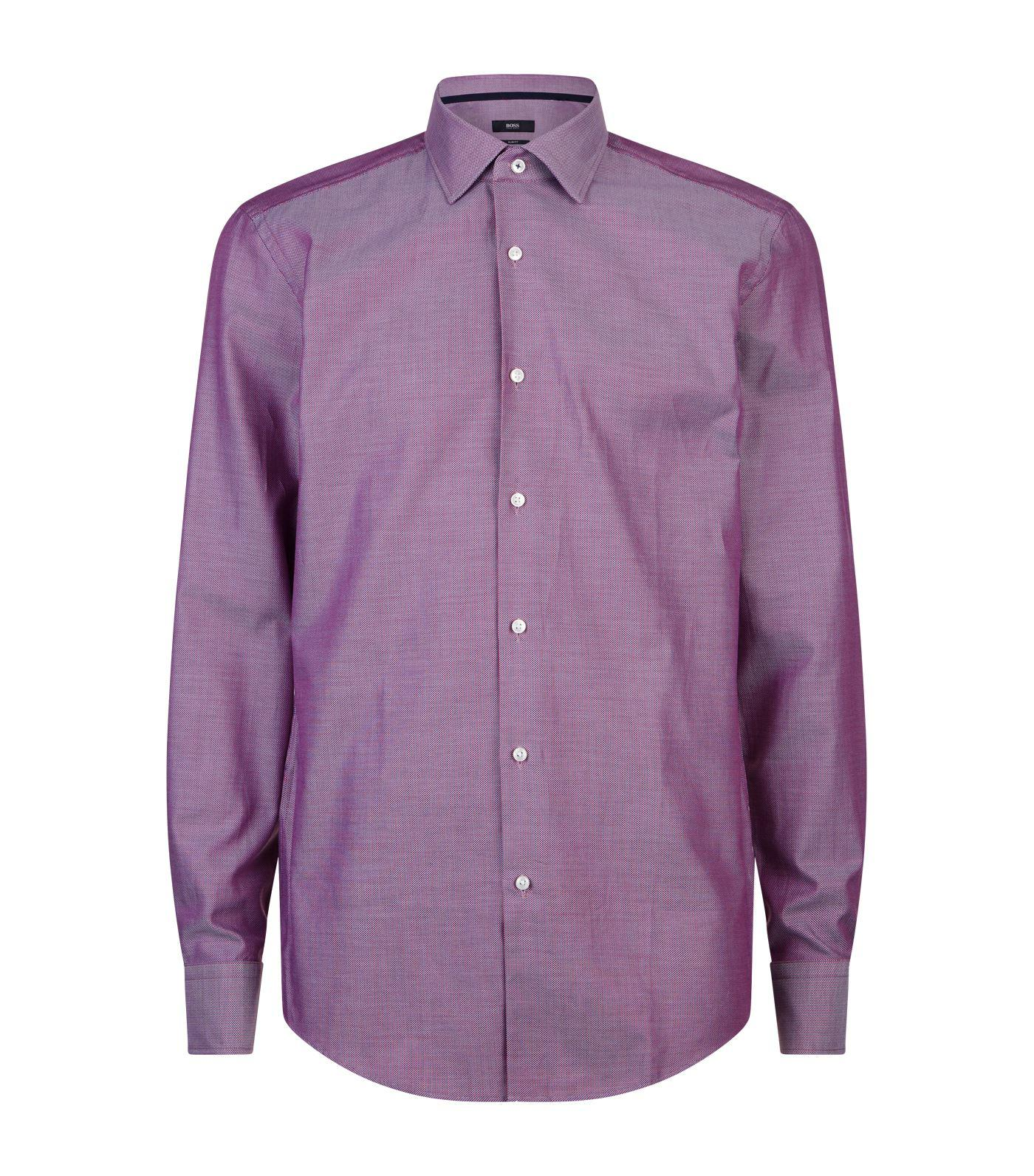 d8ad65dd5 BOSS Micro Birdseye Print Shirt in Purple for Men - Lyst