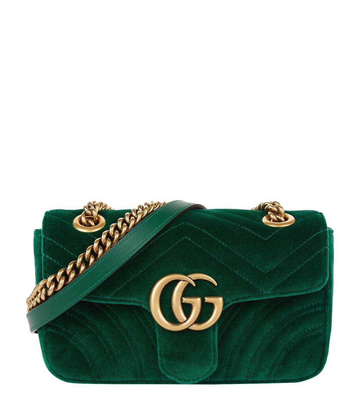 b9ebb29dc1b Gucci Mini Velvet Marmont Shoulder Bag in Green - Save 5% - Lyst