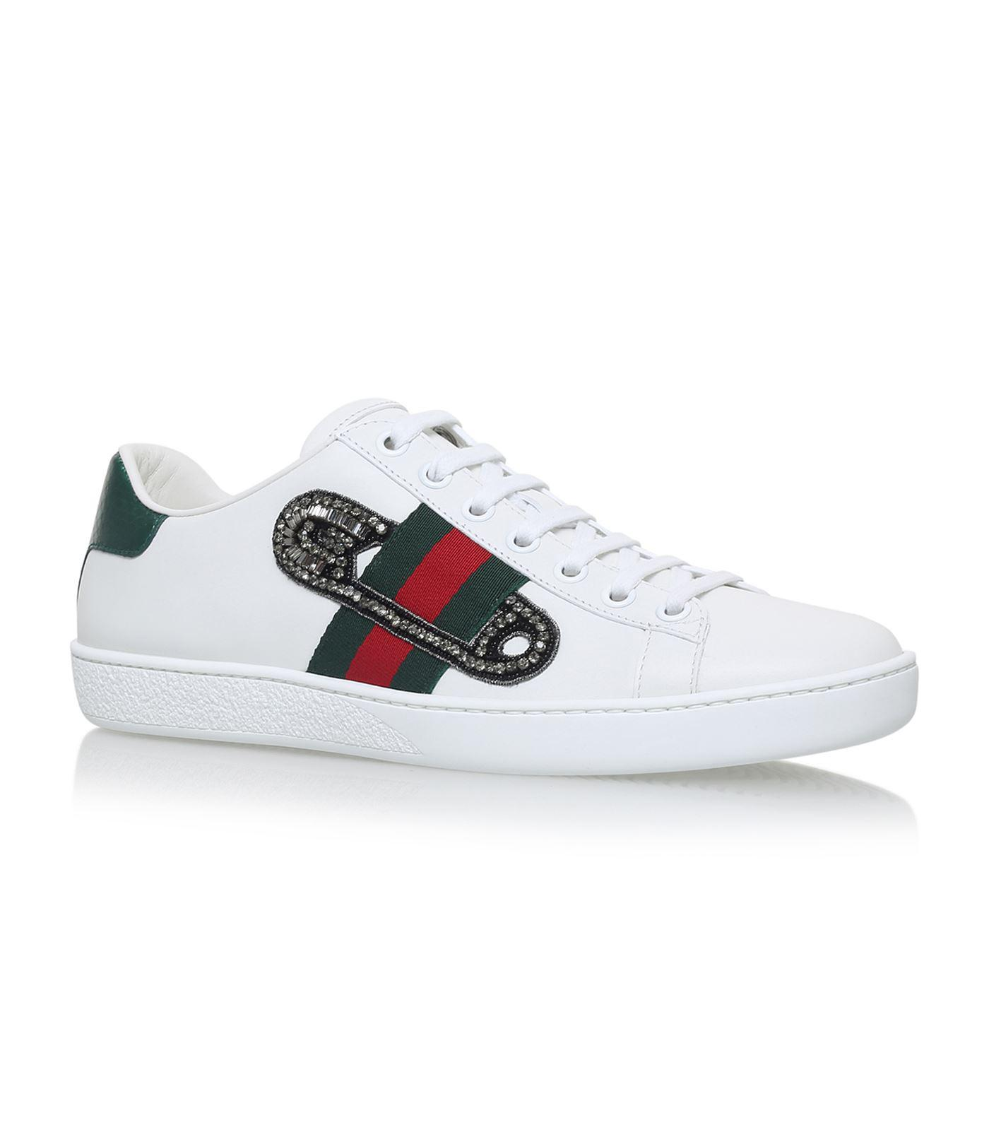 419510b7afc4 Lyst - Gucci Pin New Ace Sneakers in White for Men