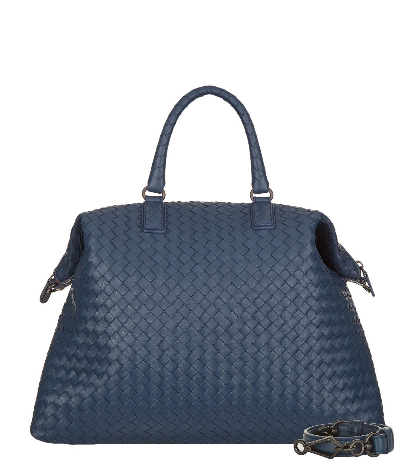 a3052d181f9d Lyst - Bottega Veneta Convertible Intrecciato Bag in Blue