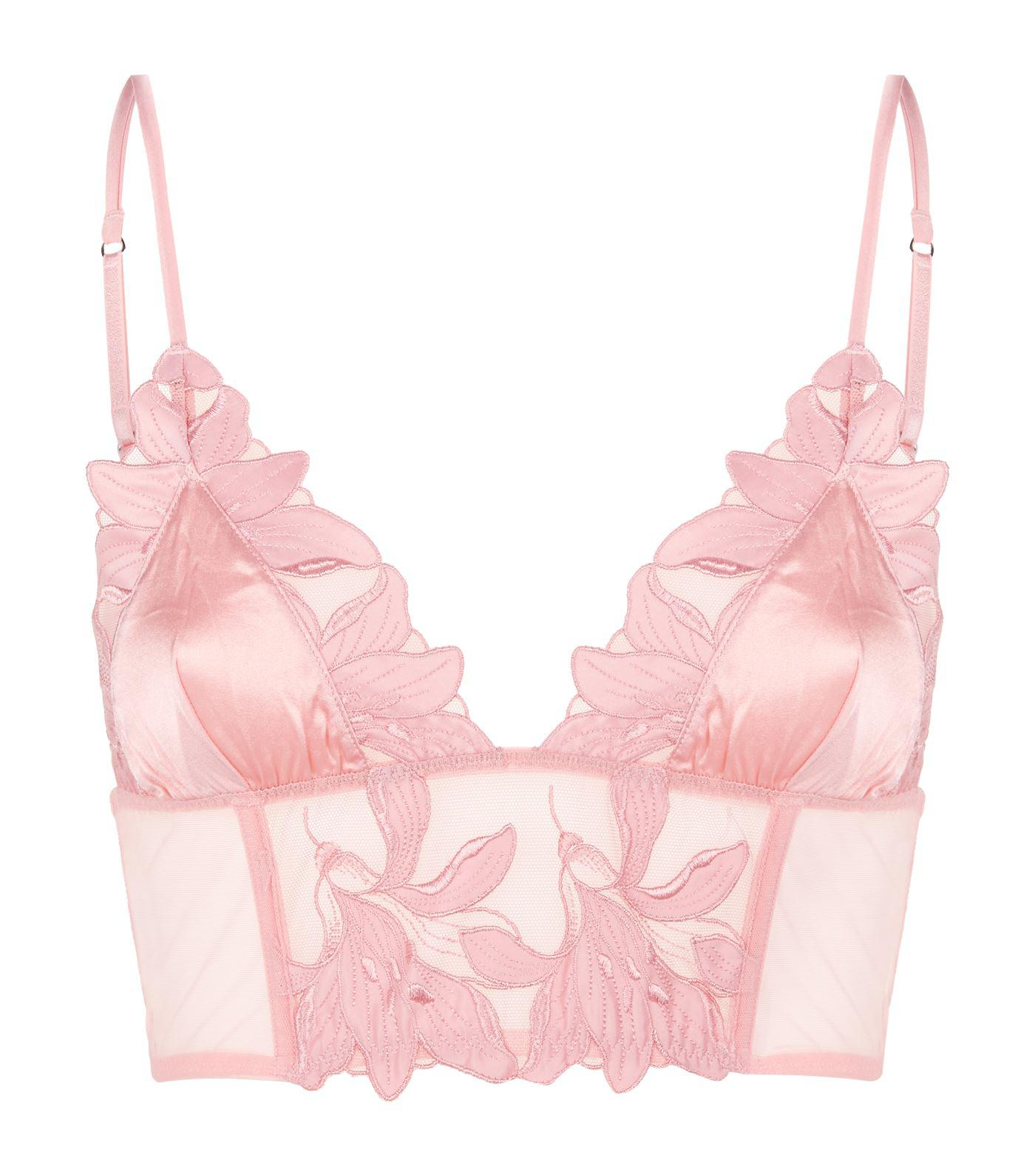 c07983ce66 Fleur du Mal Lily Lace Longline Triangle Bra in Pink - Lyst