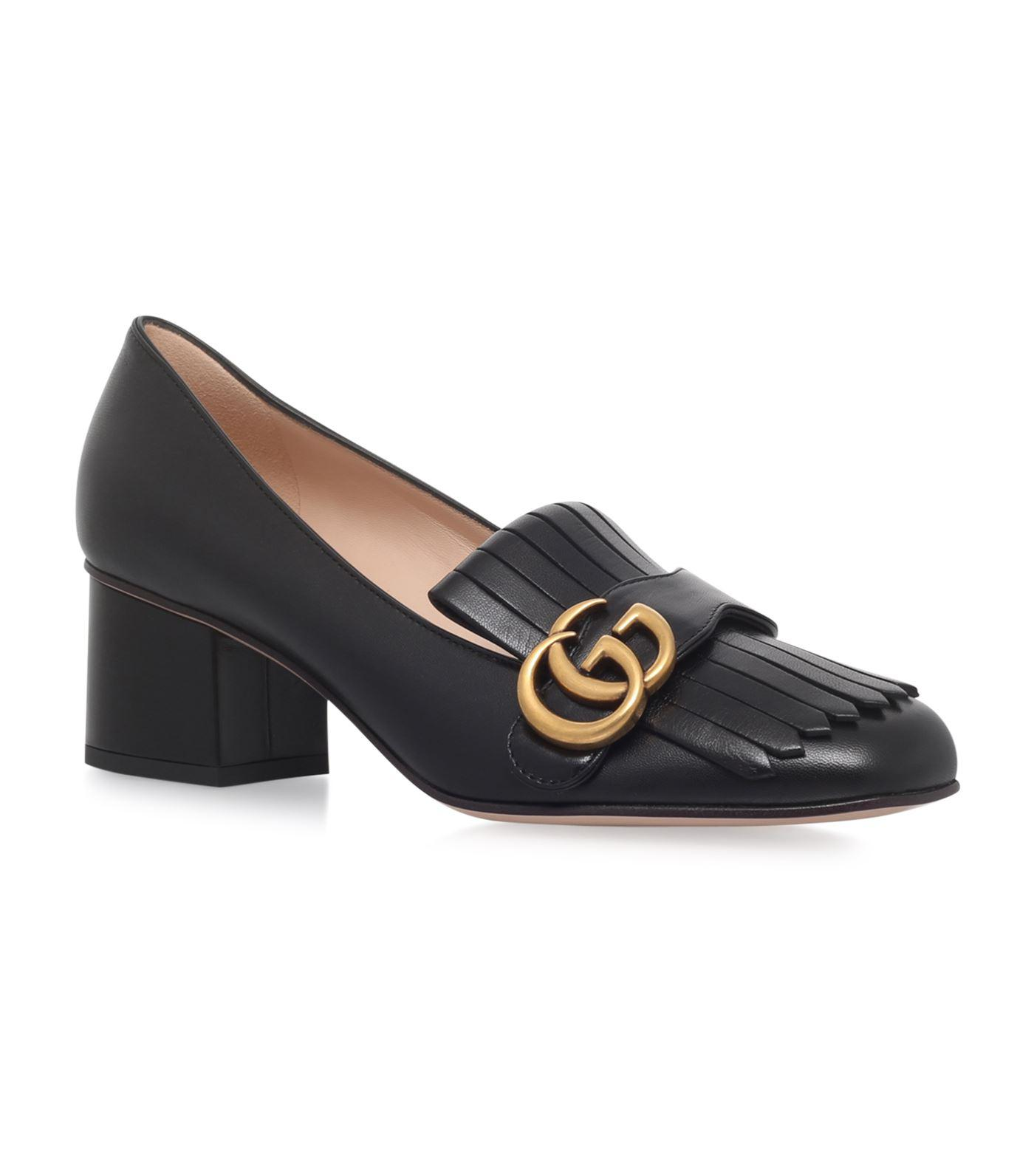 75249a64042 Gucci Marmont Fringed Loafers 55 in Black - Lyst