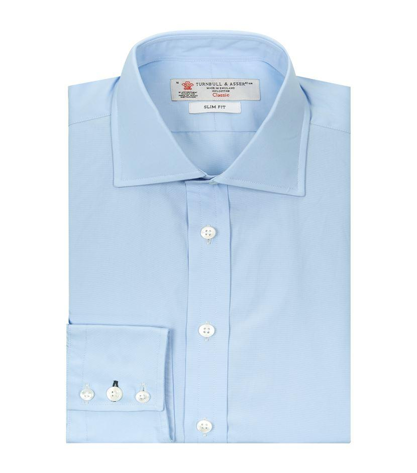 Turnbull Asser Regent Poplin Button Cuff Shirt In Blue